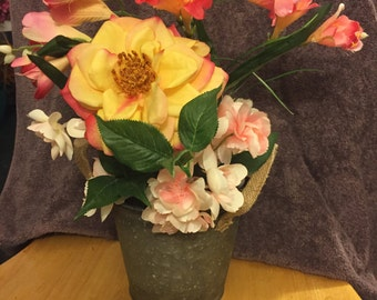 Pitted tin yellow and pink arrangement #313