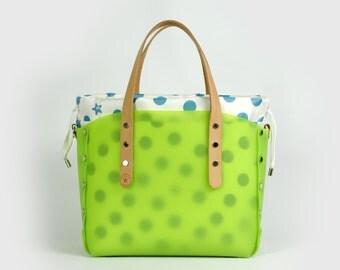 Small shopper green with polka dot bag