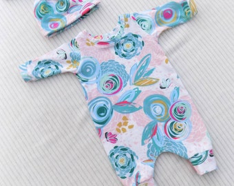 Baby Girl Romper, Floral Romper, Harem Romper, Toddler Romper, Girls Romper, Kids Clothing, Baby One Piece, Baby Girl Coverall, Coverall