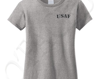 USAF Black Pkt Cotton Tshirt for Woman USAF Black Ladies T-shirt Air Force on Left Chest Women's Tee - 1299P_GLTS