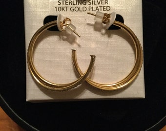 Sterling silver and 10k gold hoop earrings