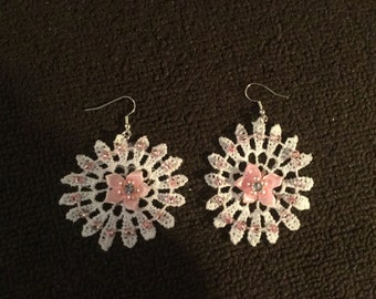 White and Pink Lace Earrings