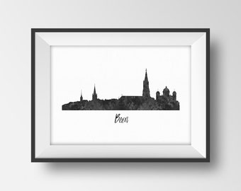 Bern Skyline Print, Switzerland Cityscape Printable, Europe City Art, European Capital Silhouette Poster, Swiss Gift Black White Wall Decor