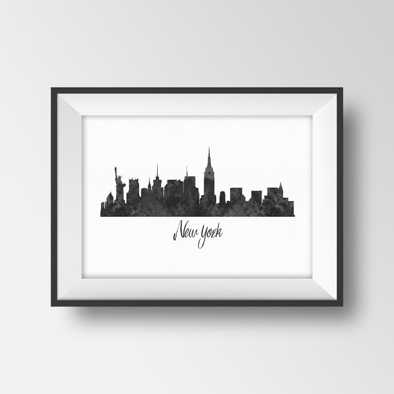 New York Skyline Print Watercolor Cityscape Printable New