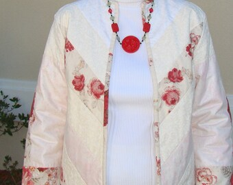 Quilted white and red jacket.