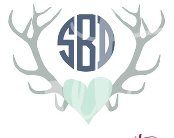 Antler and Heart with Circle Monogram; Vinyl Decal