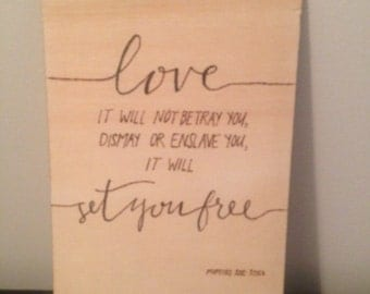 Pyrography Mumford and sons quote