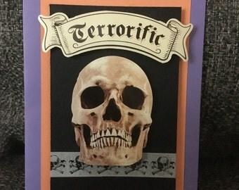 Terrorific Skull handmade Halloween Card
