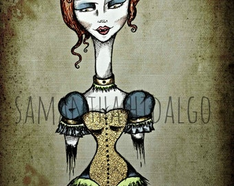 "Tim Burton Horror Inspired 5x7 Pop Surrealism Art Print ""Bleeding Fashion"" on Card Stock"