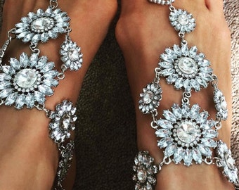 LUXE CRYSTAL BAREFOOT Sandals in Silver - Crystal Anklet
