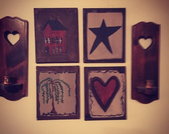 Collection of 4 primitive hand-made wall paintings