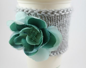 Flower Knitted Cup Cozy