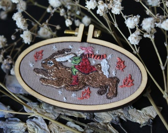 Rabbit and friend_ embroidered brooch/pendant