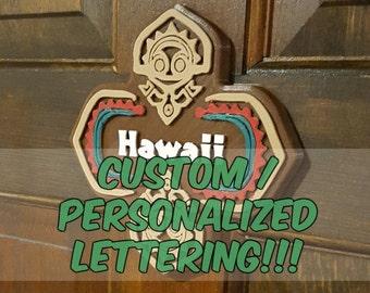 Personalized / Custom Lettering Polynesian Tiki Themed Sign / Plaque ( Disney Resort Polynesia / Park Prop Inspired Replica )