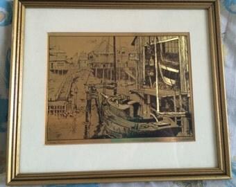 Lionel Barrymore gold foiled framed print  - water front