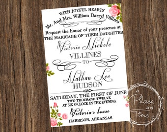 Printable Rose Wedding Invitaiton