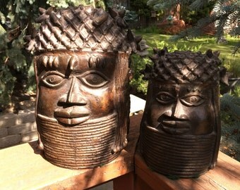 Tribal style heads, set of 2, pottery