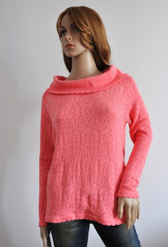 Coral pink sweater rose cotton pullover  Original Design Women  loose knit boho salmon jumper Ready to Ship Womens wear