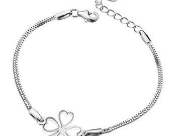 925 sterling silver clover leaf bracelet
