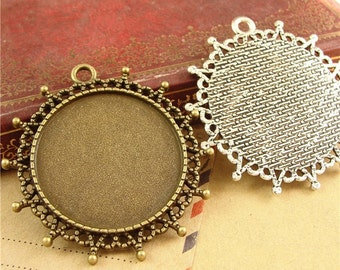 20pcs 30 mm Round Zinc Alloy Pendant Trays  Antique Style Pendant Blanks Bezel Setting