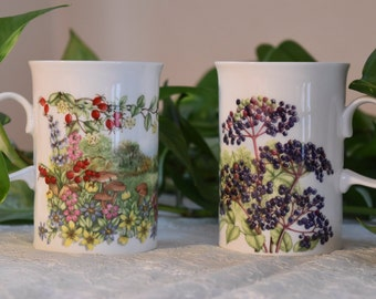 Jane Fern Dunoon Hedgerow Fruits series mugs. English fine bone china cups in the Elderberries and Rosehips designs. I
