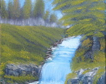 "Oil Painting Landscape Original - Happy Waterfall - 12""x16"""