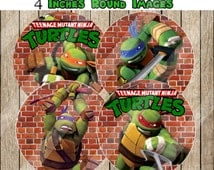Teenage Mutant Ninja Turtle 4 Inches Images, Printable Party supplies, Instant Download, Birthday Decoration