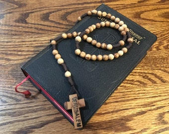Vintage Rosary, wooden rosary, Jerusalem Rosary
