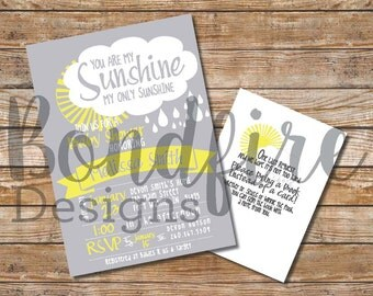 You Are My Sunshine Baby Shower Invitation Only - Printable