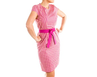 Houndstooth Print Sheath Dress - 15-046