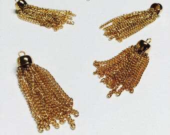 Vintage Gold Plated Chain Tassels - 60 Pieces - #579