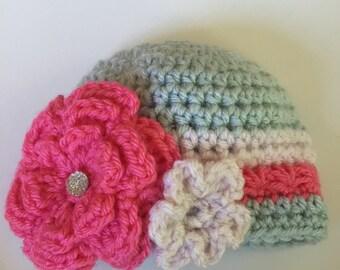 Baby Girl Flower Hat, size newborn