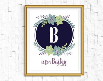 Custom Personalized Name Nursery Printable Monogram Art Print | Custom Nursery Printable Monogram Floral Letter | Succulent Boho Baby Gift