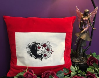 Red Velvet Cushion Cover, Machine Embroidered Gods and Goddess, Decorative Pillow