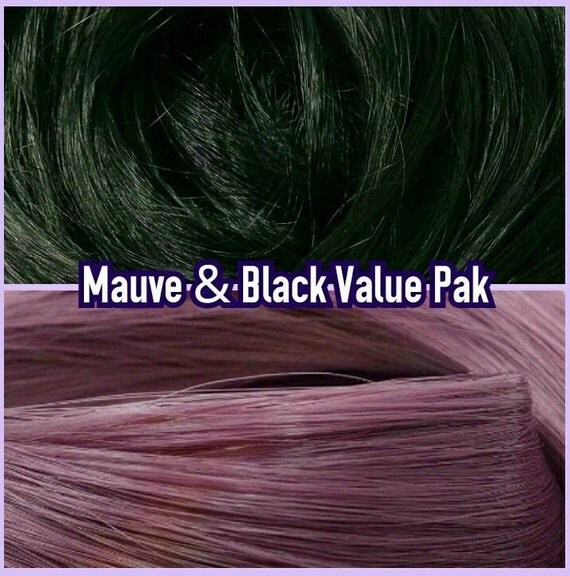 Black & Mauve Purple XL 4oz 2 Color Value Pak Nylon Doll Hair Hanks Rerooting Monster High Ever After Barbie My Little Pony Crissy