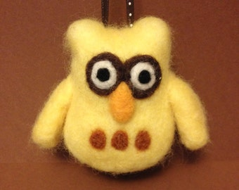 Needle felted yellow owl ornament