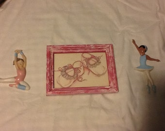 BALLET  SHOES Watercolor Pink Distressed Frame With Acrylic BALLERINAs