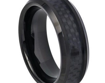 Men's Tungsten Carbide High Polished Black IP Plated with Black Carbon Fiber Inlay Beveled Edge 8mm Wedding Band | Anniversary Ring