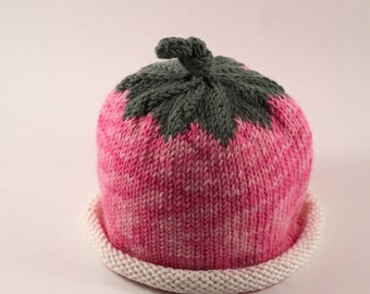 Hand Knit Baby Pink Flower Hat