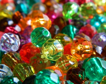 240 8mm Vintage Faceted Beads - Assorted Colors