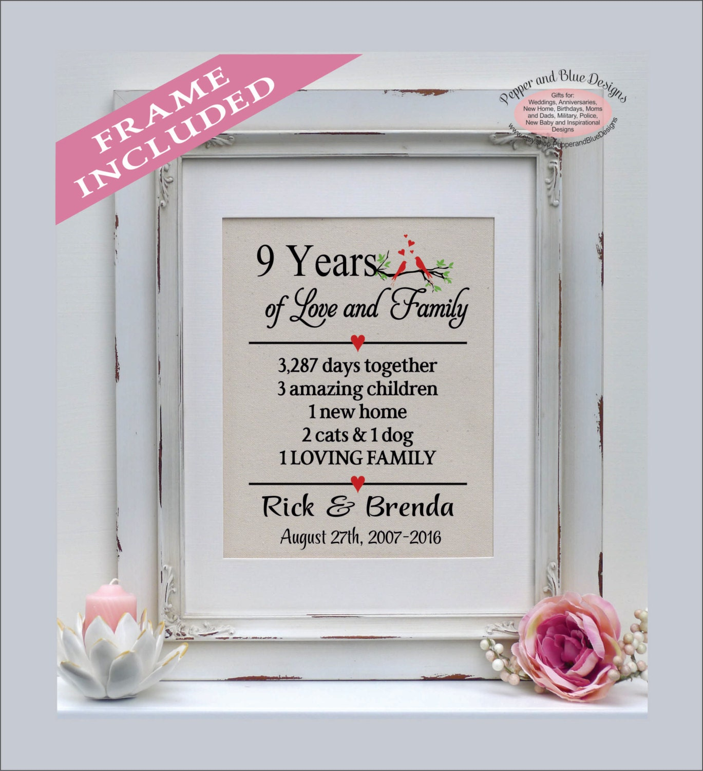 Traditional 4th Year Wedding Anniversary Gift: Anniversary Art 4th Anniversary Gift 47th Anniversary Gift
