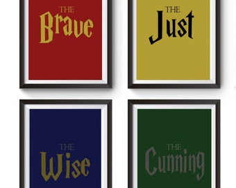 Set of 4 Hogwarts Houses Posters | Instant Download