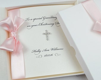 Christening Card / Baptism / Holy Communion Personalised Card / Handmade Luxury Card with Diamonté Cross / Pink Blue or White Ribbon