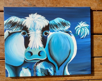 Blue Cow 16x20 origninal painting