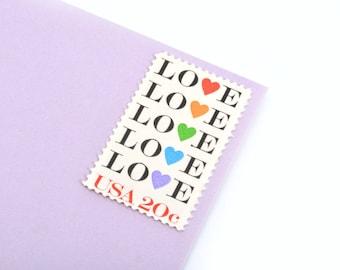 25 Rainbow Love Stamps - 20c - Vintage from 1984 - Unused Postage - Quantity of 25