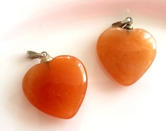 Gemstone heart, red Aventurine, 2 cm, heart pendants, orange, red, silver