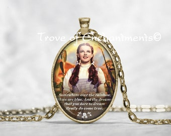 Wizard of OZ~ Dorothy~ Somewhere Over the Rainbow~ color photo image oval glass pendant necklace w/rolo chain