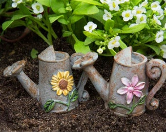 Flower Watering Can ~ miniature enchanted fairy garden
