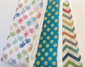 Baby Burp Cloths - Set of 3 - Ride in Multi, Polka Dots, and Skinny Chevron in Multi
