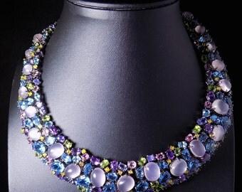 Unique Rose Quartz and Sapphire Necklace